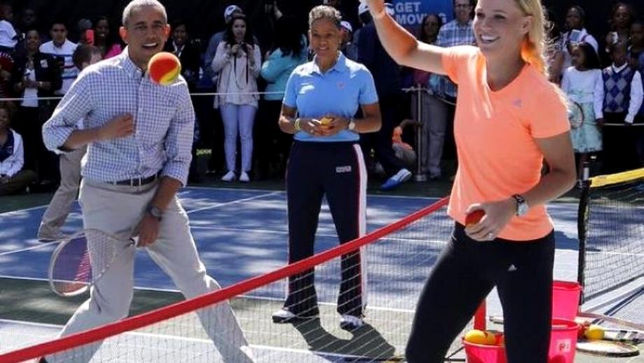 VIDEO / Halep cu Iohannis, Wozniacki cu Obama! Meci amical de tenis la Casa Albă!