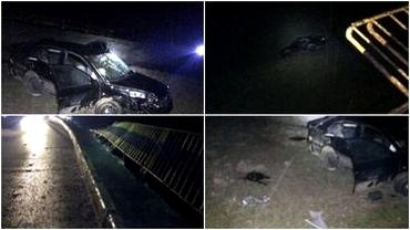 Accident înfiorător în județul Olt. Cinci tineri au sărit cu mașina de pe un pod