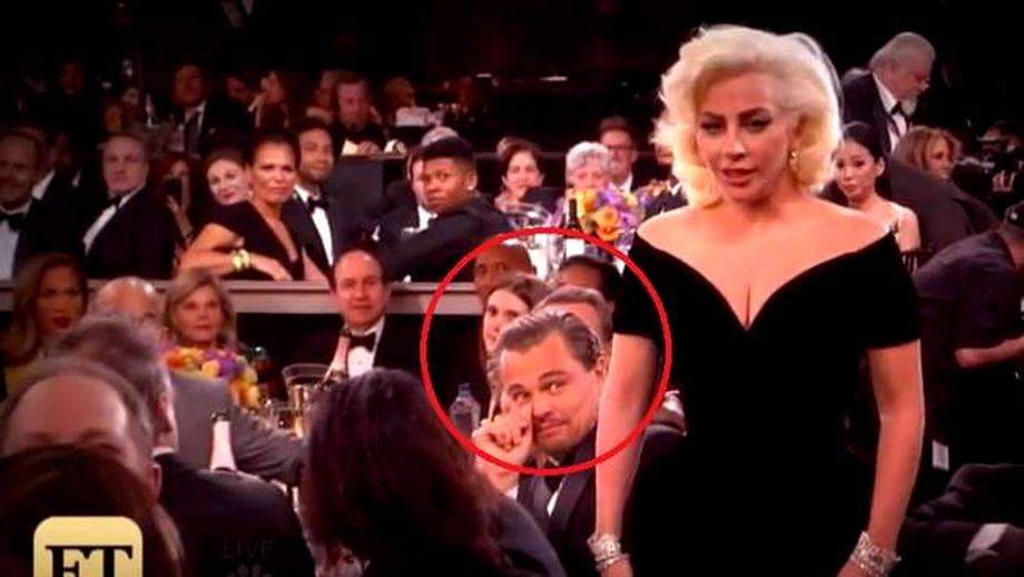 Filmuleţul care a amuzat internetul! Ce faţă face Leonardo DiCaprio când trece pe lângă el Lady GaGa