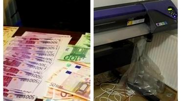 Fabrică de bani falși, depistată de DIICOT la Brașov. 500.000 de euro ridicați de la infractori