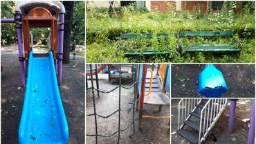 Locurile de joacă din Bucureşti, adevărate parcuri ale groazei: rugină, mizerie, seringi! Leagănele şi toboganele bagă copiii în spital. Foto