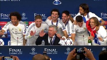 VIDEO / Jucătorii au întrerupt conferinţa de presă a lui Ancelotti! Antrenorul a început să CÎNTE cu ei