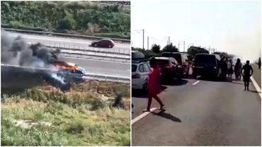 O mașină a luat foc pe Autostrada Soarelui. Traficul a fost paralizat pe sensul către București