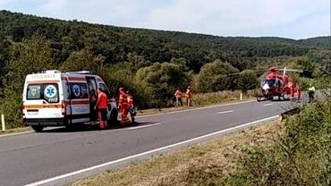 Accident teribil pe DN1F, între Zalău și Cluj-Napoca. Un rănit a fost transportat cu elicopterul de urgență