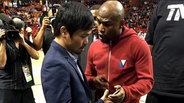 VIDEO / FABULOS! Mayweather şi Pacquiao s-au întîlnit la un meci din NBA! Au făcut schimb de numere de telefon
