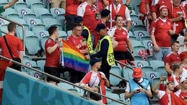 EURO 2020, sferturi de finală. Anchetă după ce un steag în culorile curcubeului a fost confiscat la meciul Danemarca - Cehia