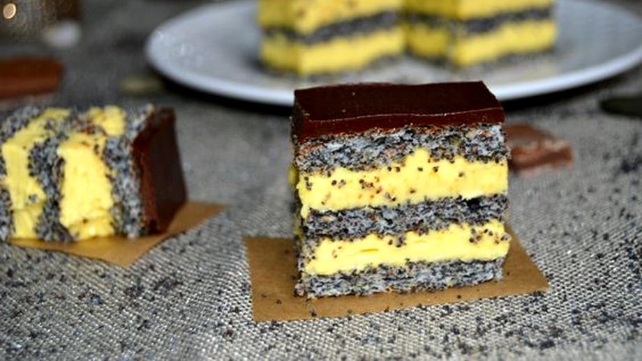 Prăjitură cu mac, vanilie și ciocolată. Un desert simplu și gustos
