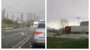 Fenomen meteo neobișnuit la Timișoara: furtună de zăpadă în mijloc de primăvară. Video