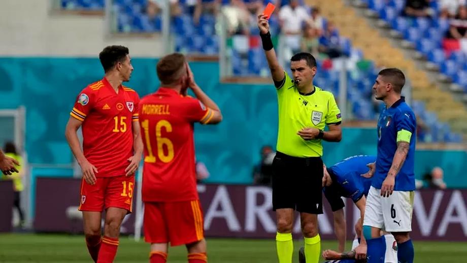Ovidiu Hațegan, singurul arbitru de la Euro 2020 care a arătat cartonașe roșii. Pe cine a dat afară în Italia - Țara Galilor