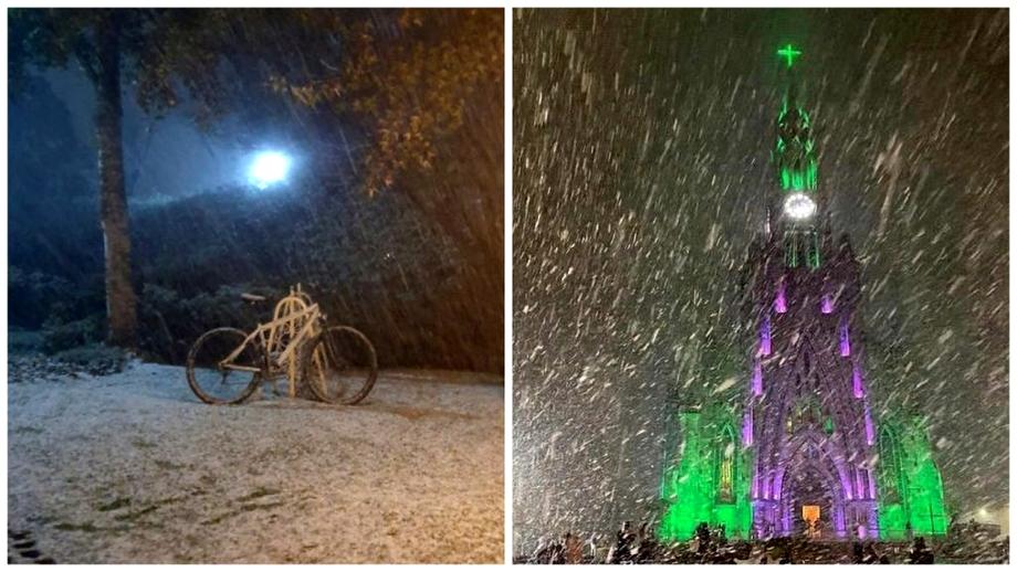 """Reacția unui bărbat de 62 de ani care a văzut zăpada pentru prima dată, după ninsorile din Brazilia: """"De nedescris"""