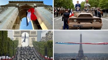 Video. Străzile Parisului au răsunat din nou de pași de defilare. Cum au arătat ceremoniile de Ziua Naţională a Franţei