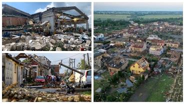 Imagini apocaliptice din Cehia, după tornada F3 care a ucis cel puțin 5 persoane și a distrus sute de clădiri. Foto