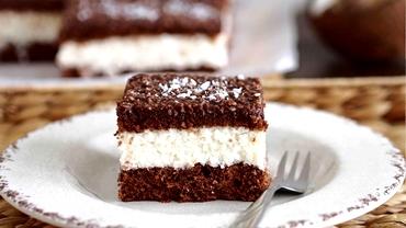 Rețetă de post. Prăjitură pufoasă cu cremă de cocos si blat însiropat de cacao