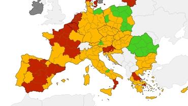 România, pe harta verde a Europei din perspectivă epidemiologică. ECDC, recomandări privind Euro 2020