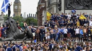 Anglia - Scoția, șocul zilei la EURO 2020. Scoțienii au invadat Londra înainte de meci. Video