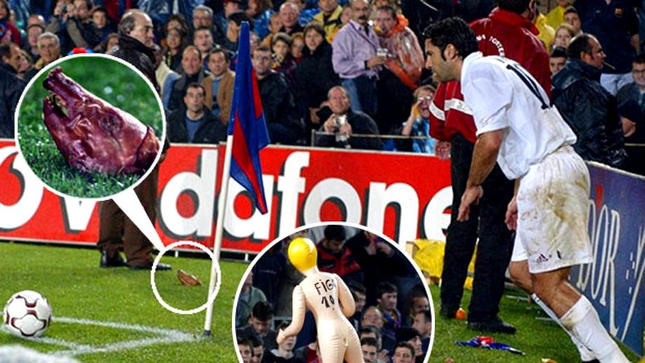 Cum a fost atacat Luis Figo într-un El Clasico! Fanii Barcelonei, pedeapsă pentru