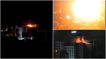 Incendiu într-un bloc din București. Explozie puternică în vârful unei clădiri. Care este cauza. Update