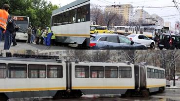 Accident grav în Capitală. Un tramvai a deraiat de pe șine