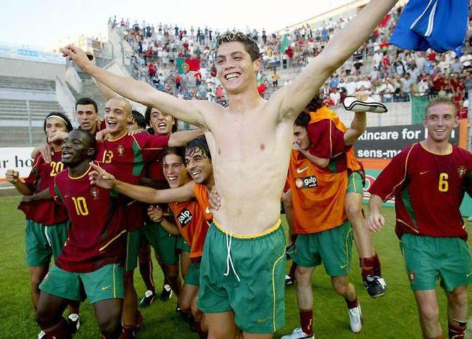 Cristiano Ronaldo la echipa de tineret a Portugaliei, anul 2003