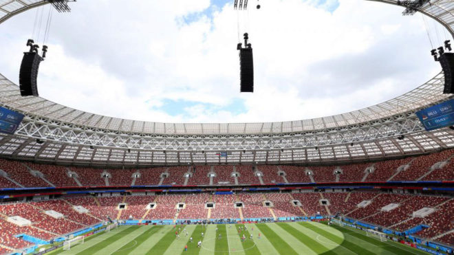 Stadion Lujniki din Moscova. Aici a avut loc deschiderea CM 2018 şi finala Franţa - Croaţia