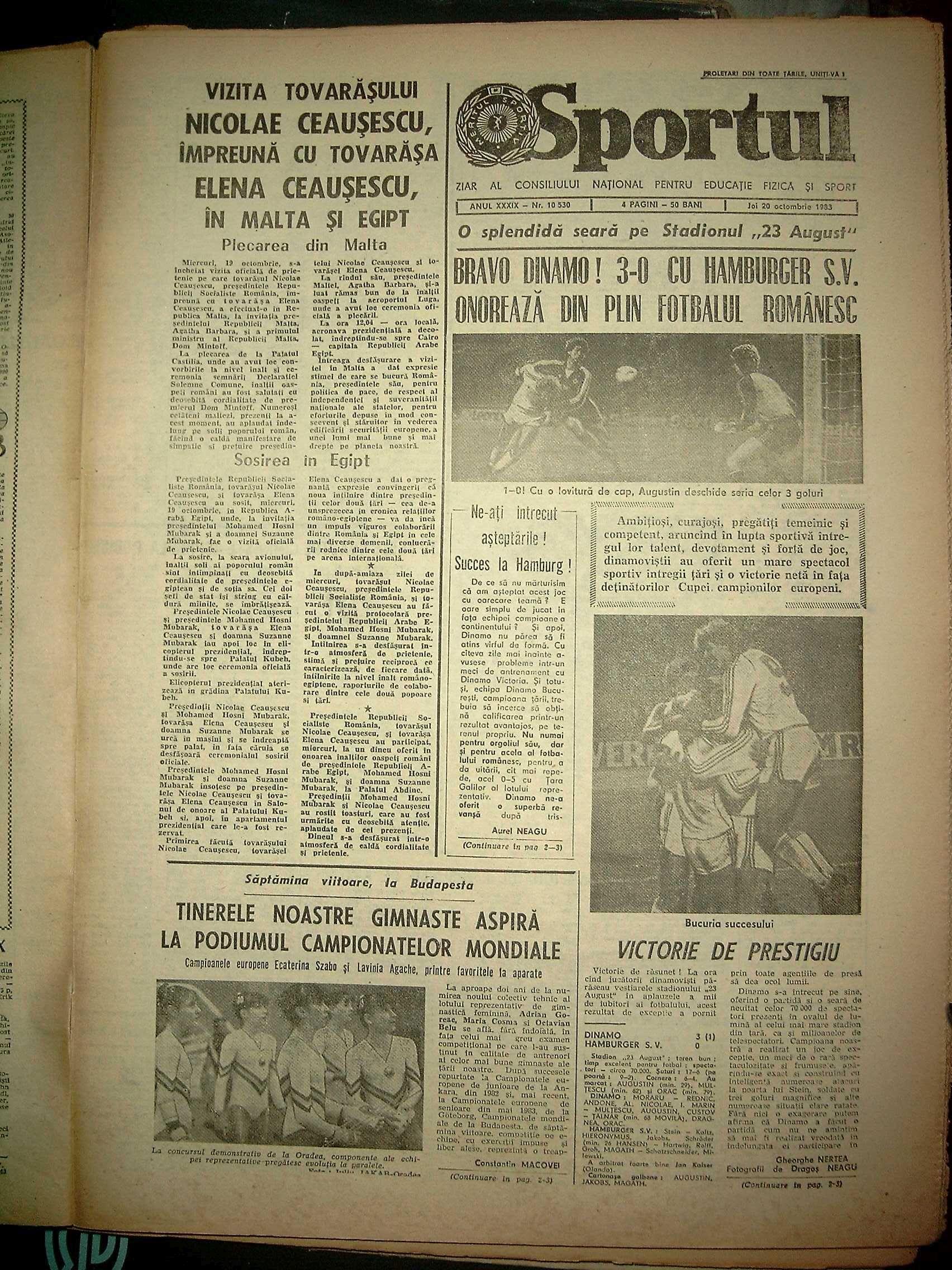 """Singurul ziar de sport al vremii, """"Sportul"""", elogia marele succes al lui Dinamo, în care Gigi Mulțescu marcase cel mai frumos gol al meciului, cu o """"bombă"""" de la 40 de metri"""