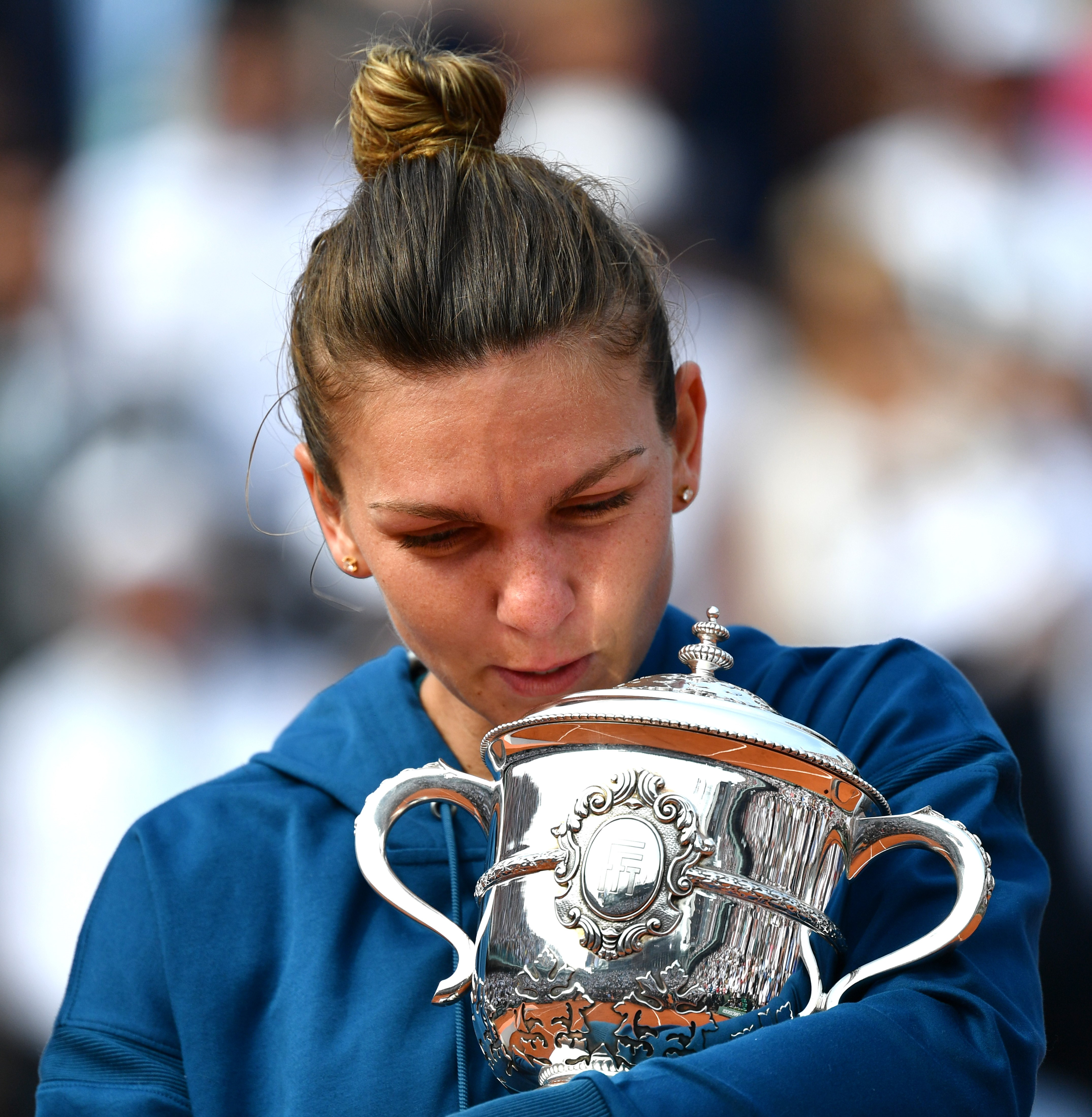 PARIS, FRANCE - JUNE 09: Simona Halep of Romania holds championship trophy after winning her French Open finals match against Sloane Stephens (not seen) of the USA at Roland Garros Stadium in Paris, France on June 09, 2018. Mustafa Yalcin / Anadolu Agency