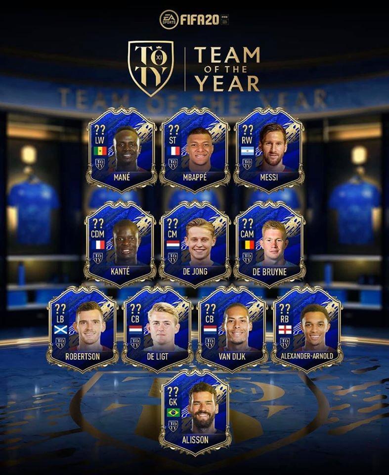Echipa anului în FIFA 20. Sursă foto: twitter