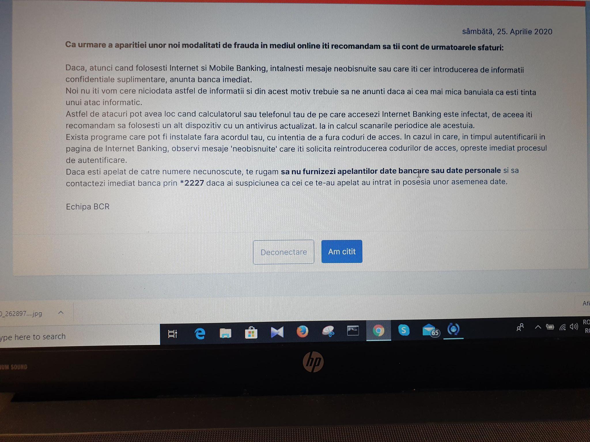 Atac informatic conturi BCR