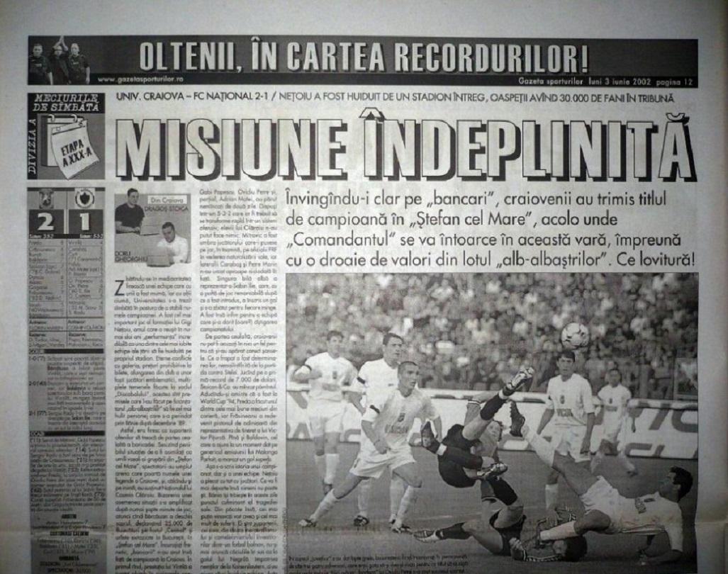 Bogdan Vintila nota 4 in Gazeta Sporturilor