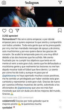 Mesajul lui Florin Andone de pe Instagram. Sursă foto: Instagram