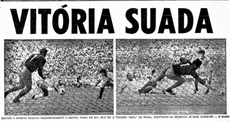 prima pagina O Globo dupa Romania - Brazilia in Mexic 1970
