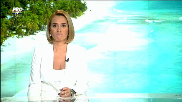 Andreea Esca, în timp ce era live la TV, însă nu știa acest lucru. Foto: Captură TV