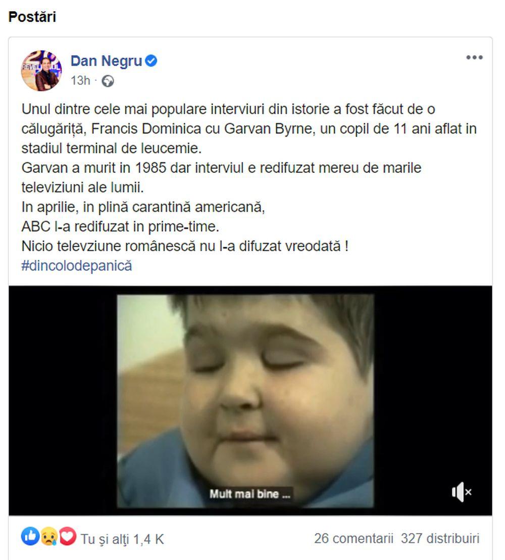 Dan Negru a scris pe Facebook un mesaj pentru televiziuni
