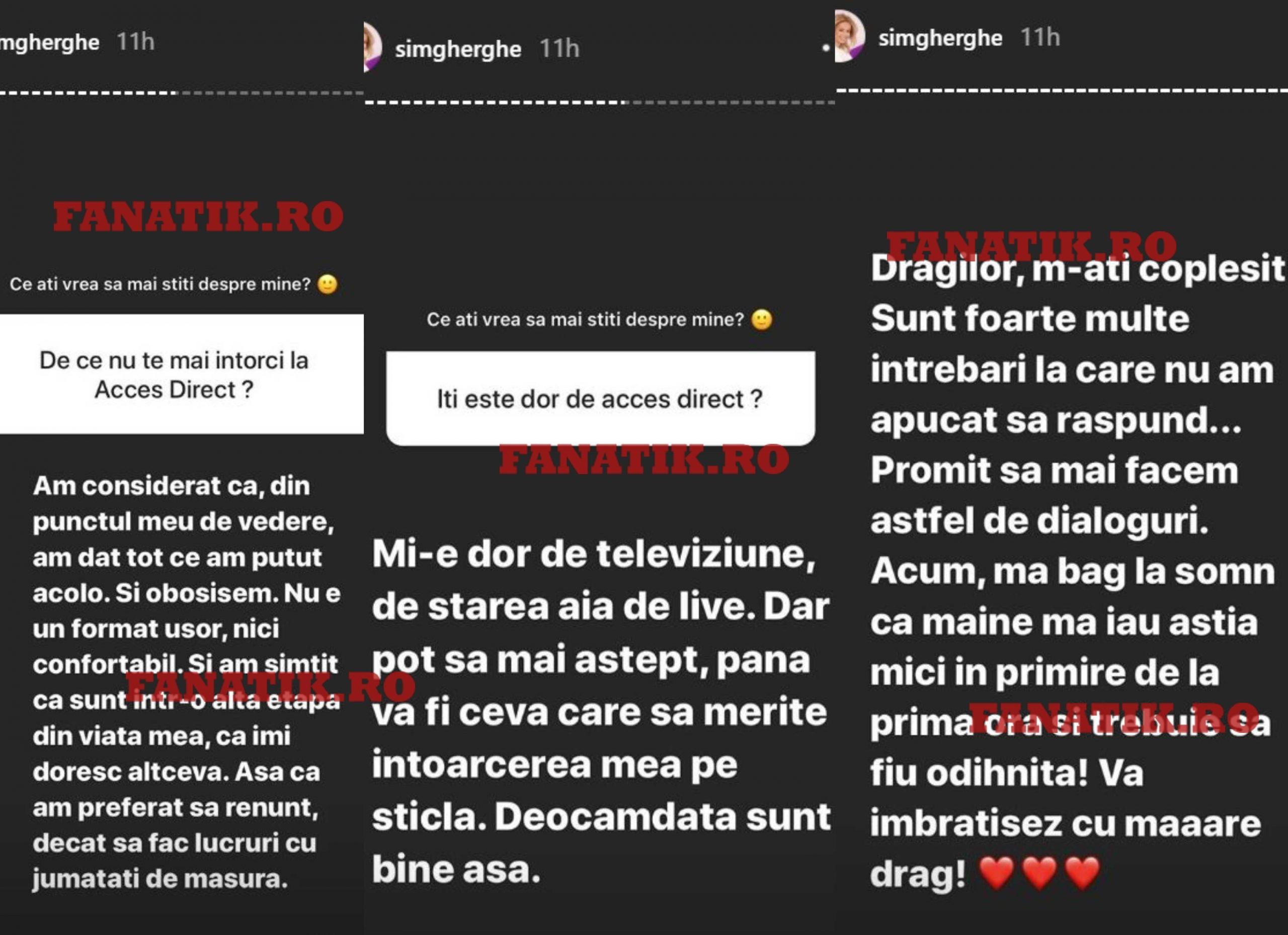Simona Gherghe a anunțat când se întoarce în televiziune, dar și dacă o să revină la Acces Direct