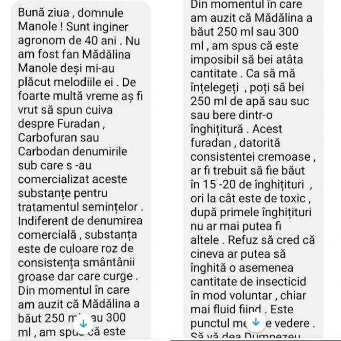 Mesajul trimis de un inginer agronom fratelui Mădălinei Manole