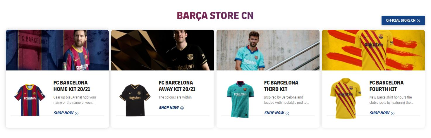 Echipamentul de joc pentru sezonul 2020-21 al Barcelonei, promovat cu imaginea lui Messi. FOTO: captură site oficial