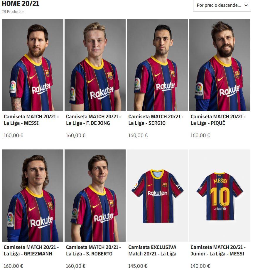 """Tricoul """"Messi"""" costă 160 de euro pentru adulţi şi 140 de euro pentru copii. FOTO: captură site oficial"""