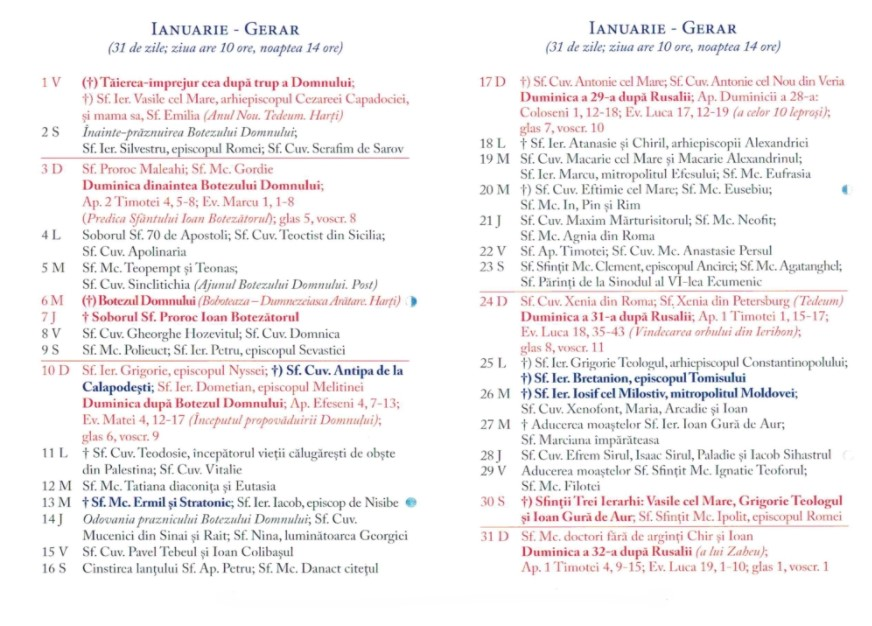 Calendar Ortodox 2021 - Ianuarie