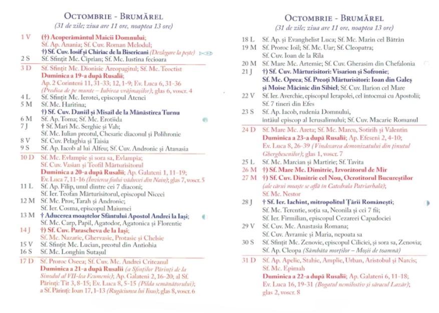 Calendar Ortodox 2021 - Octombrie