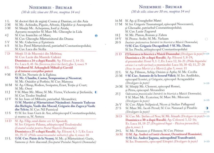 Calendar Ortodox 2021 - Noiembrie