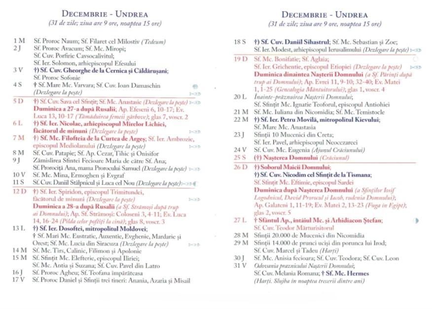Calendar Ortodox 2021 - Decembrie