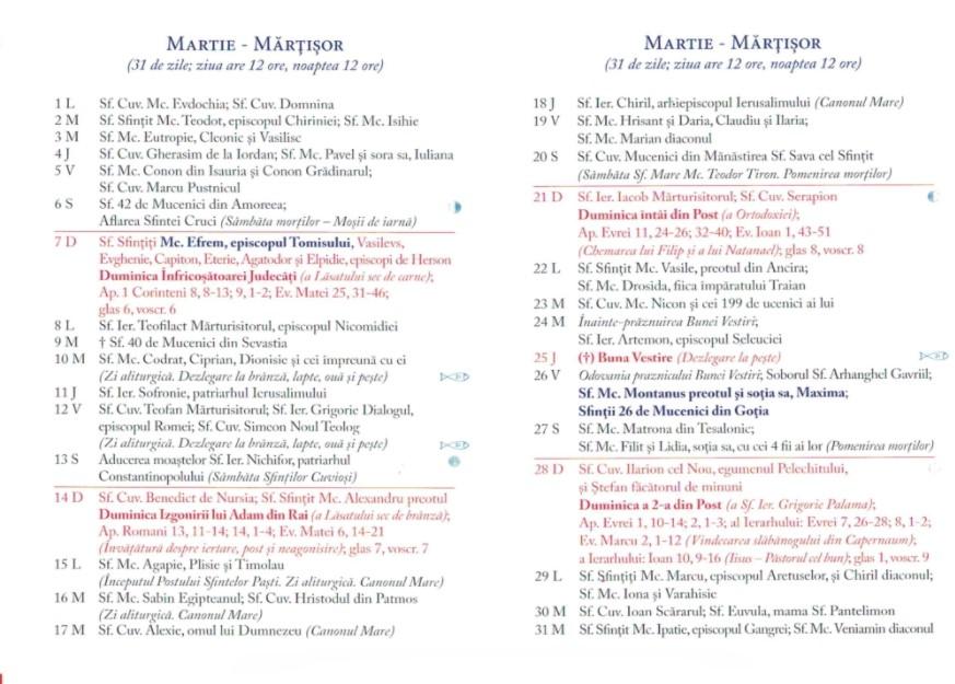 Calendar Ortodox 2021 - Martie