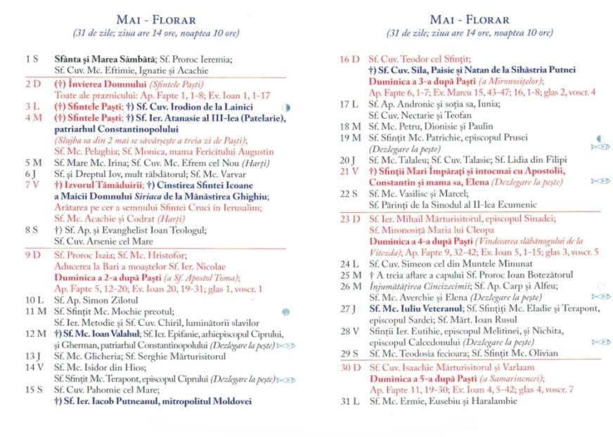 Calendar Ortodox 2021 - Mai