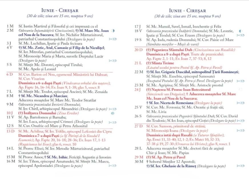 Calendar Ortodox 2021 - Iunie