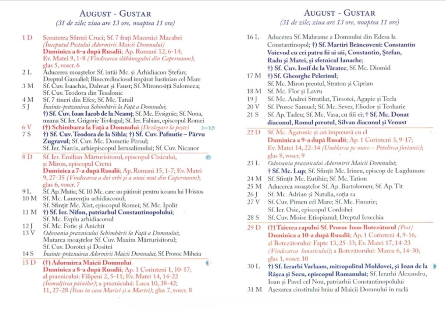 Calendar Ortodox 2021 - August