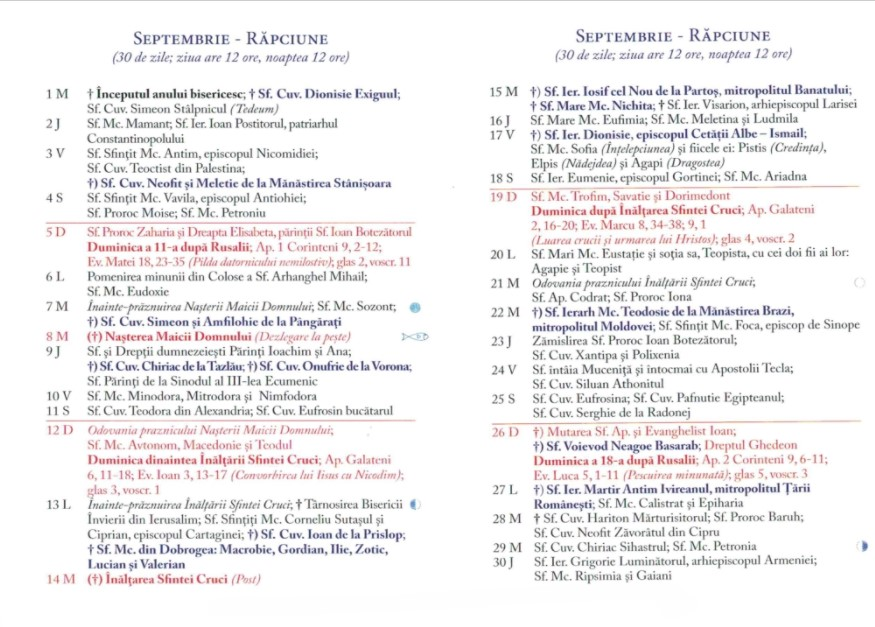Calendar Ortodox 2021 - Septembrie
