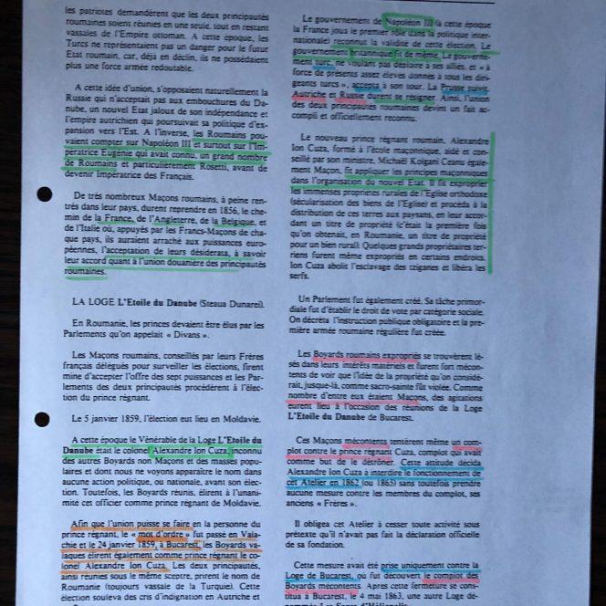 Pagini din Dicționarul Universal al Francmasoneriei, dedicate Unirii Principatelor (2) (sursa arhivă personală)