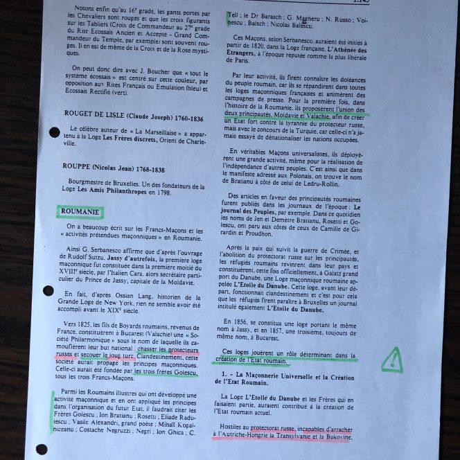 Pagini din Dicționarul Universal al Francmasoneriei, dedicate Unirii Principatelor (sursa arhivă personală)