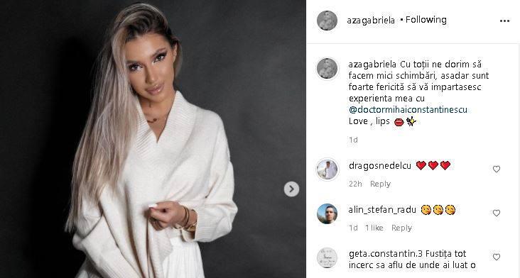 Postarea lui Aza Gabriela. Sursă foto: Instagram/Aza Gabriela