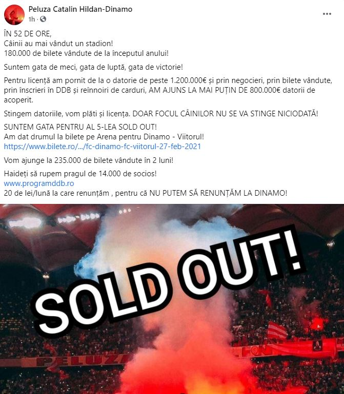 Dinamo sold-out Sepsi